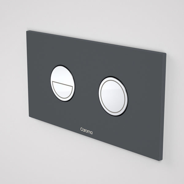 Caroma Invisi Series II Round Dual Flush Metal Plate & Buttons Neutral - Dark Grey by Caroma - The Blue Space