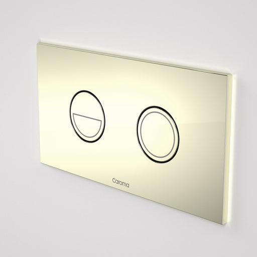 Caroma Invisi Series II Round Dual Flush Metal Plate & Buttons Metallic - Gold by Caroma - The Blue Space