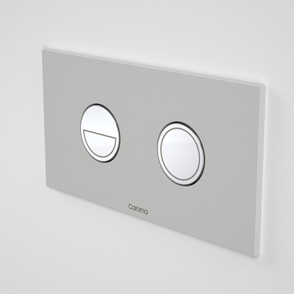 Caroma Invisi Series II Round Dual Flush Metal Plate & Buttons Neutral - Light Grey by Caroma - The Blue Space
