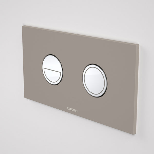 Caroma Invisi Series II Round Dual Flush Metal Plate & Buttons Neutral - Mid Grey by Caroma - The Blue Space