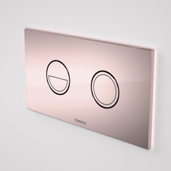 Caroma Invisi Series II Round Dual Flush Metal Plate & Buttons Metallic - Rose Gold by Caroma - The Blue Space