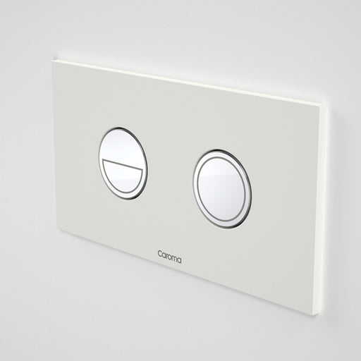 Caroma Invisi Series II Round Dual Flush Metal Plate & Buttons Neutral - White by Caroma - The Blue Space
