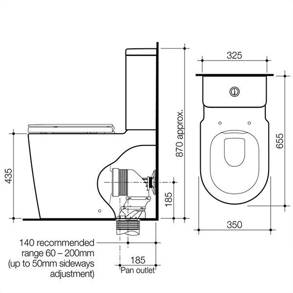 Caroma Liano Cleanflush® Easy Height Wall Faced Toilet Suite DF WH by Caroma - The Blue Space