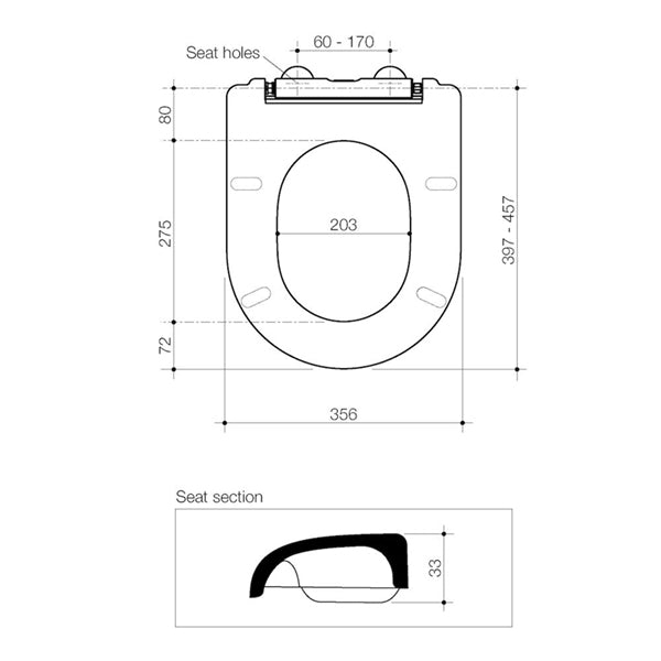 Technical Drawing - Caroma Liano Soft Close Toilet Seat