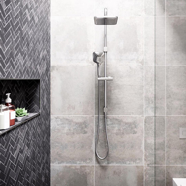 Caroma Contemporary Luna Shower on Rail in designer grey bathroom - The Blue Space
