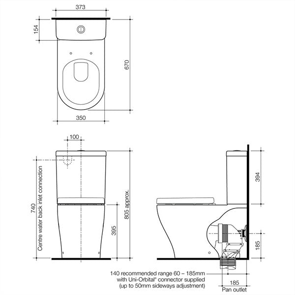 Technical Drawing - Caroma Luna Wall Faced Toilet Suite - The Blue Space