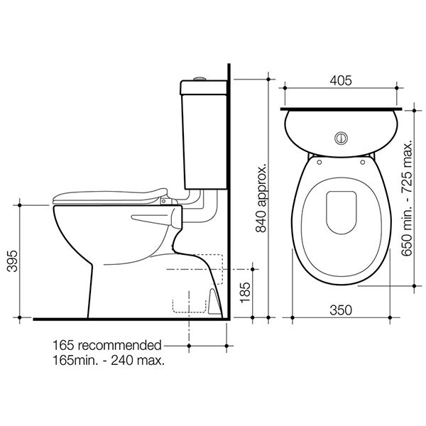 Caroma Profile 4 Trident Connector Toilet Suite Technical Drawing - The Blue Space