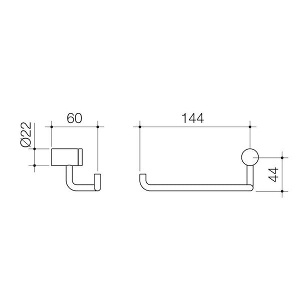 Caroma Titan Stainless Steel Toilet Roll Holder Technical Drawing - The Blue Space