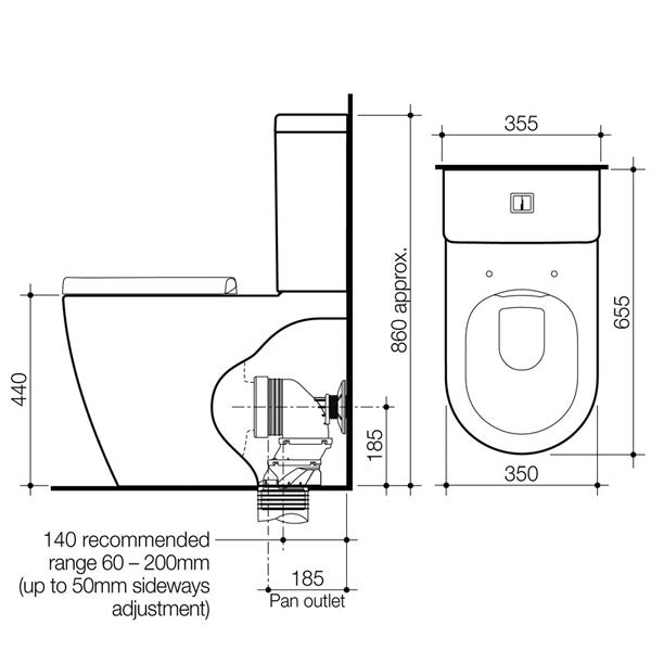 Caroma Urbane Cleanflush Wall Faced Toilet Suite Technical Drawing - The Blue Space