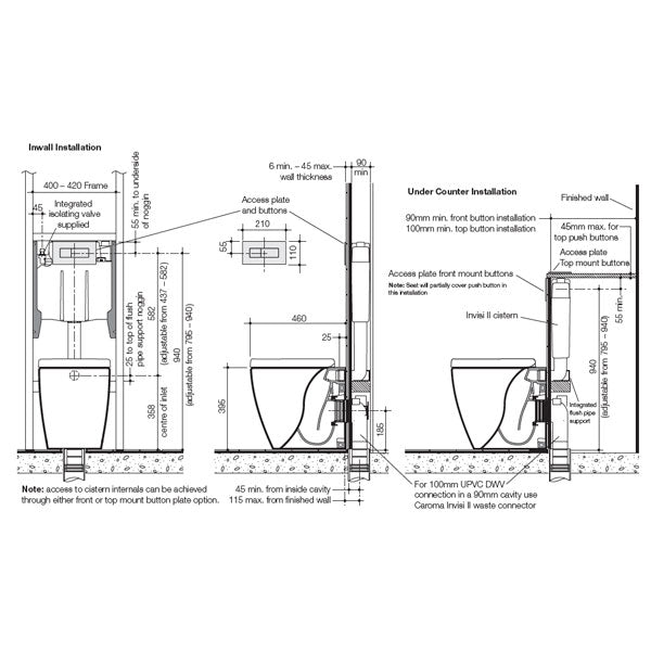 Caroma Urbane Compact Invisi Toilet Suite Technical Drawing