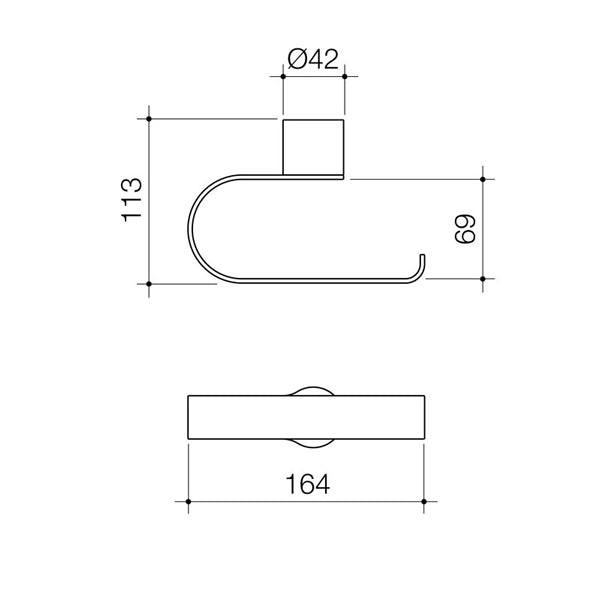 Caroma Urbane Toilet Roll Holder Technical Drawing - The Blue Space