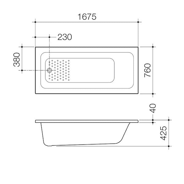 Caroma Vivas Anti-slip Island Bath 1675mm Technical Drawing - The Blue Space