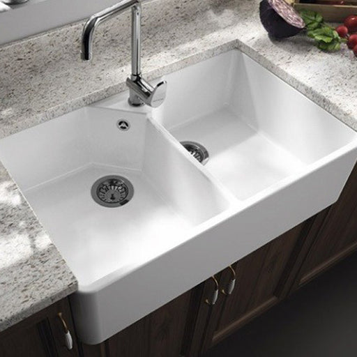 Turner Hastings Chester Double Flat Front Fine Fireclay Butler Kitchen Sink - The Blue Space