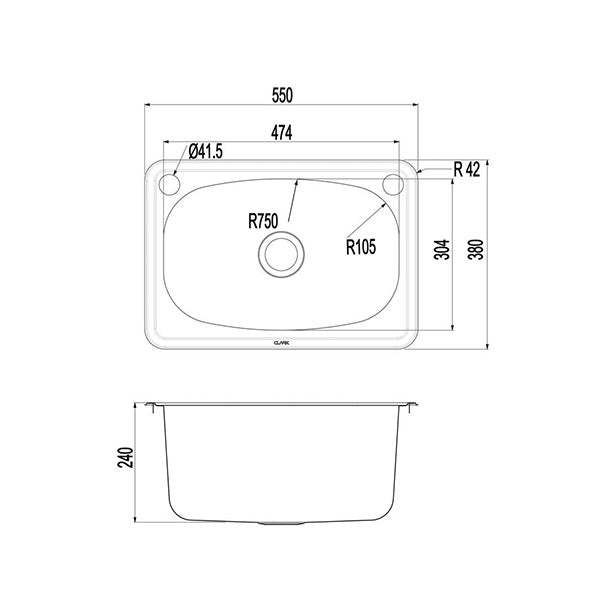 Clark Flushline 30 Litre Laundry Tub dimensions line drawings