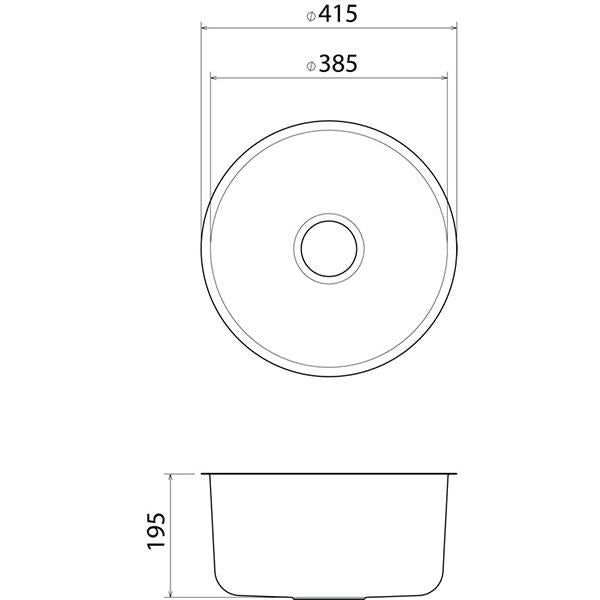 Clark Round Bowl Undermount Kitchen Sink - dimensions