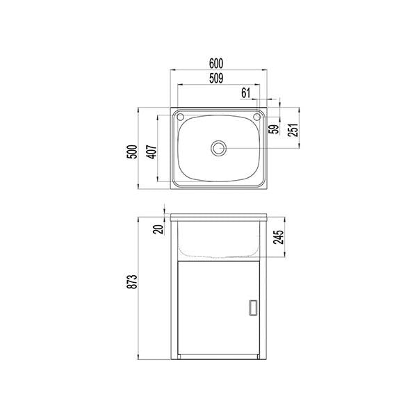 Clark Utility 42 Litre Laundry Tub and Cabinet - line drawings