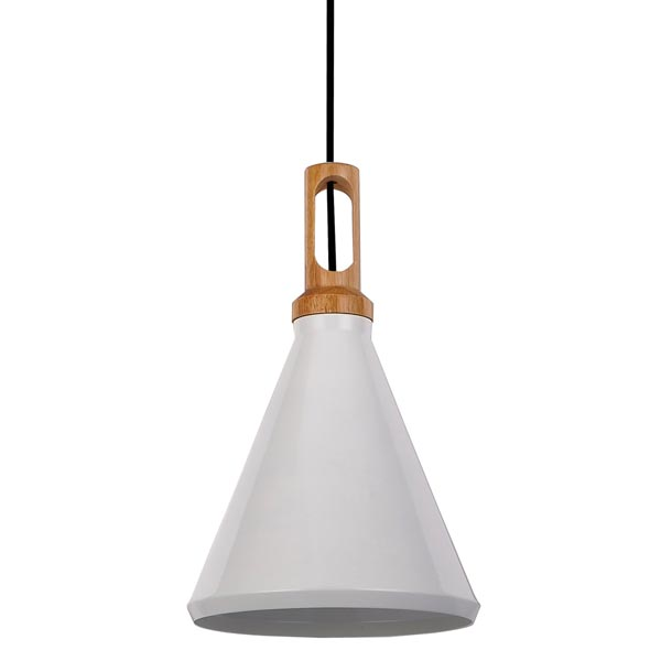 Crompton Bennie Cone White Metal With Wood Pendant