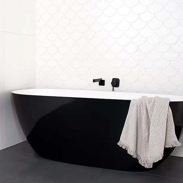 ADP Day Dream 1700 Freestanding Bath with white interior and black exterior at The Blue Space