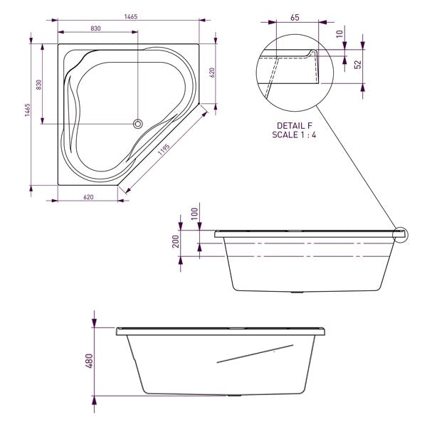 Decina Angelique Contour Spa Bath with Jets line drawing 1465