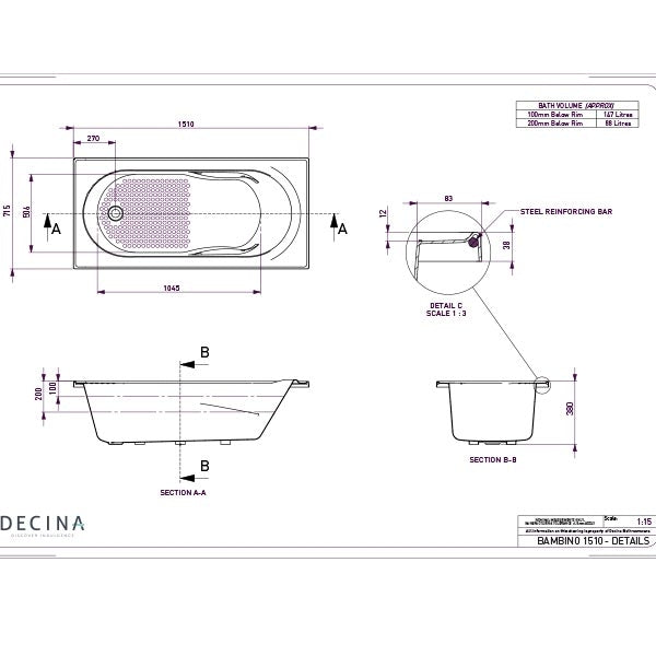 Decina Bambino Inset Bath 1510 line drawing dimensions