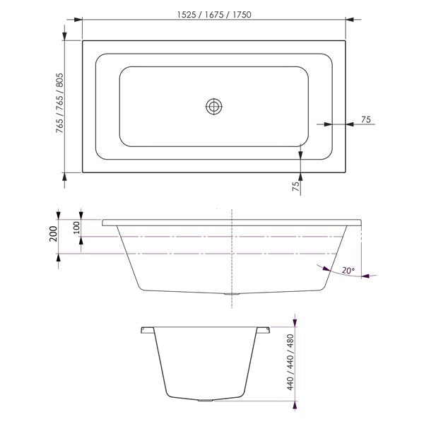 Decina Carina Contour Spa Bath 1525 1625 1750 line drawing dimensions
