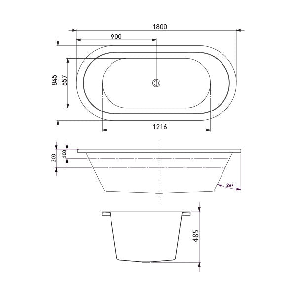 Decina Caval Santai 1800 Spa Bath with jets line drawing and dimensions - The Blue Space