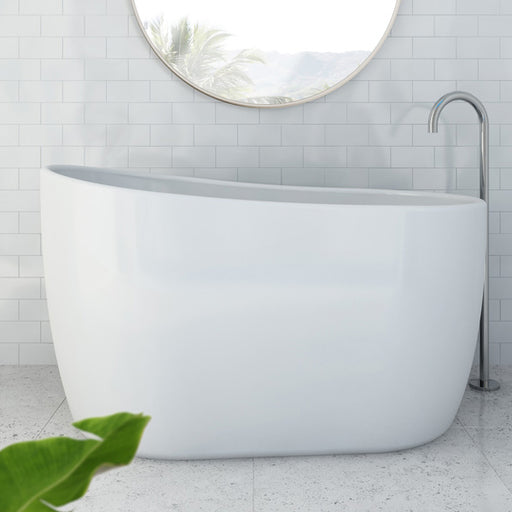 Decina Cosmo 1300mm Freestanding Bath in white bathroom. Japanese soaker baths by Decina at The Blue Space