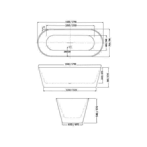 Decina Elinea Freestanding Bath line drawing dimensions - The Blue Space 1500 1790