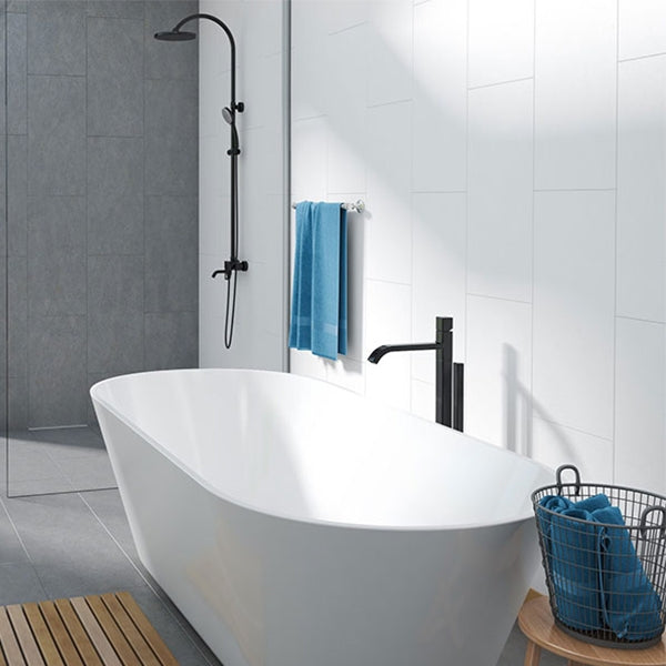 Decina Elinea Freestanding Bath with black shower and grey back drop - The Blue Space