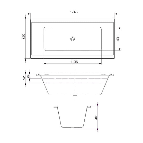 Decina Martino Santai Spa Bath 1745 with Jets line drawing and dimensions