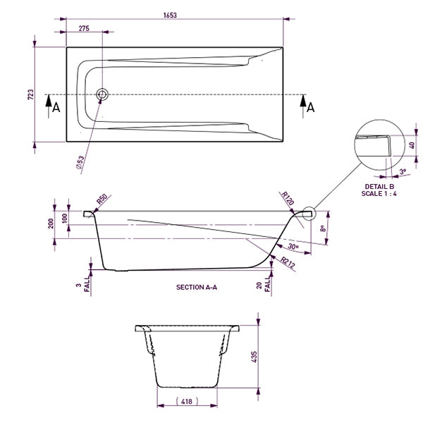 Decina Novara Island Bath 1653 specs - line drawing and dimensions
