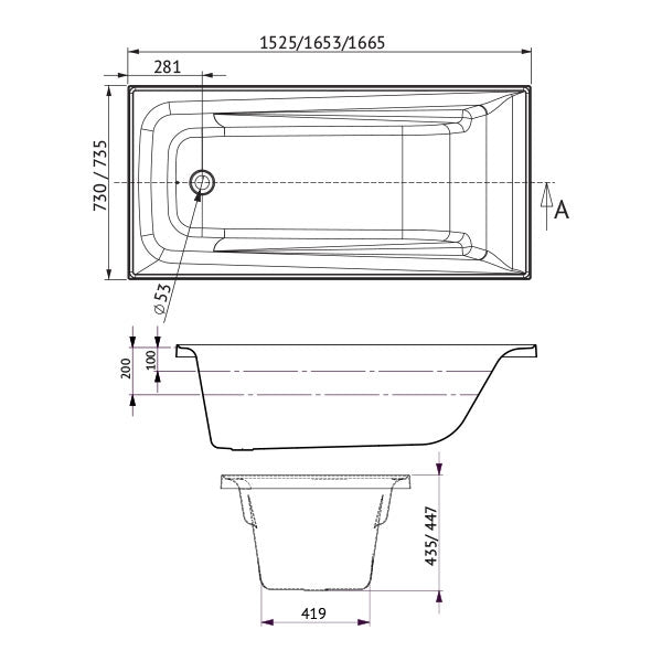 Decina Novara Santai Spa Bath 1525 1653 1665 specs - line drawing and dimensions