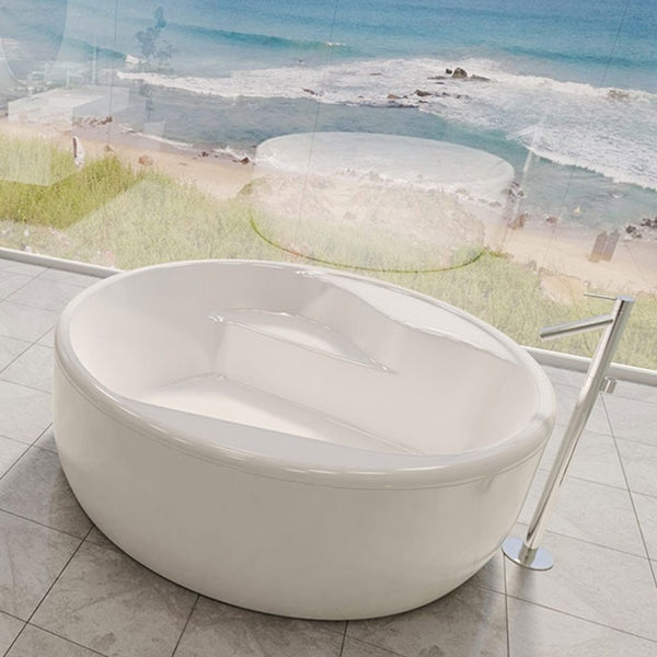 Decina Orion Circle Freestanding Bath with view - The Blue Space