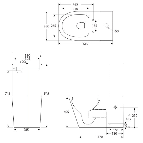 Decina Renee Rimless Wall Faced Toilet Suite line drawings