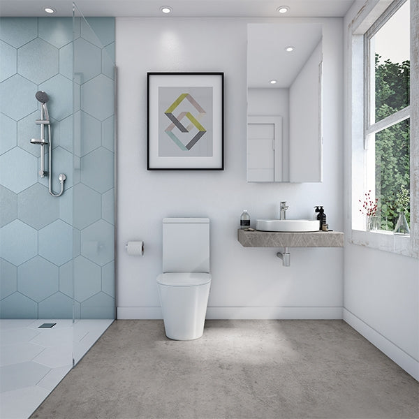 Decina Renee Rimless Wall Faced Toilet Suite in Blue and White Bathroom - The Blue Space