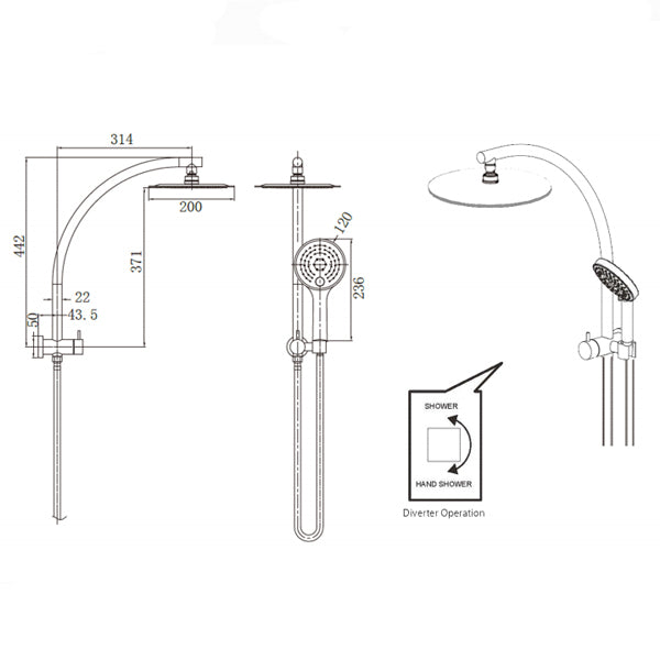 Technical Drawing - Nero Dolce Compact 2-in-1 Twin Shower - Brushed Nickel