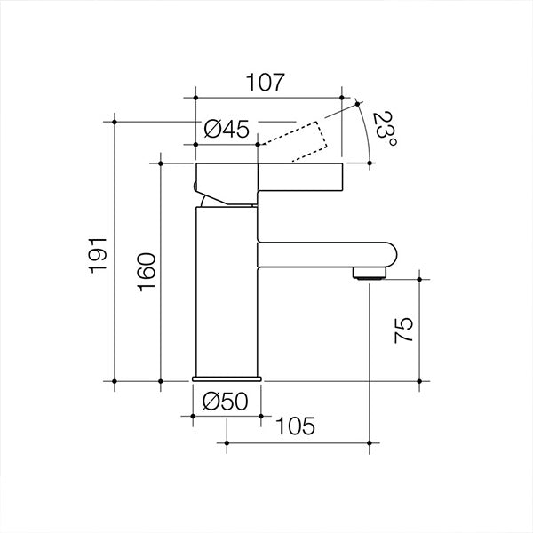 Dorf Enigma Basin Mixer Black specs - line drawing and dimensions