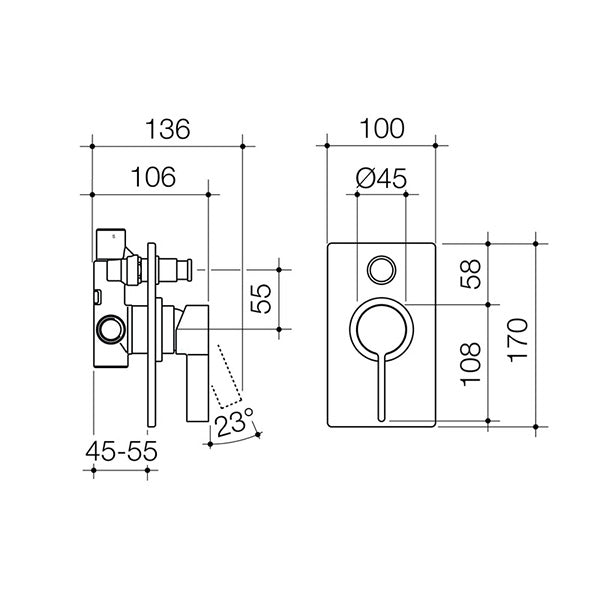 Dorf Enigma Bath/Shower Mixer with Diverter-Matte Black specs - line drawing and dimensions