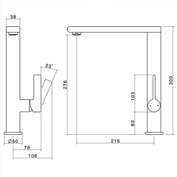 Dorf Enigma Sink Mixer chrome - the blue space specs - line drawing and dimensions