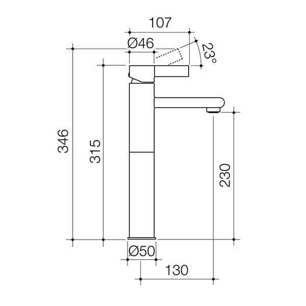 Dorf Enigma Tower Basin Mixer specs - line drawing and dimensions