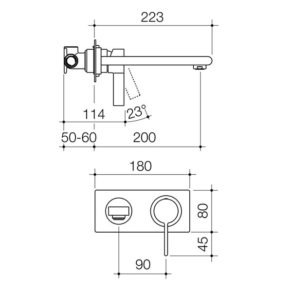Dorf Enigma Wall Basin/Bath Mixer-Chrome specs - line drawing and dimensions