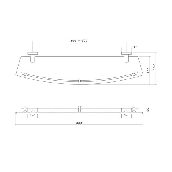 Dorf Enix Glass Shelf chrome specs - line drawing and dimensions