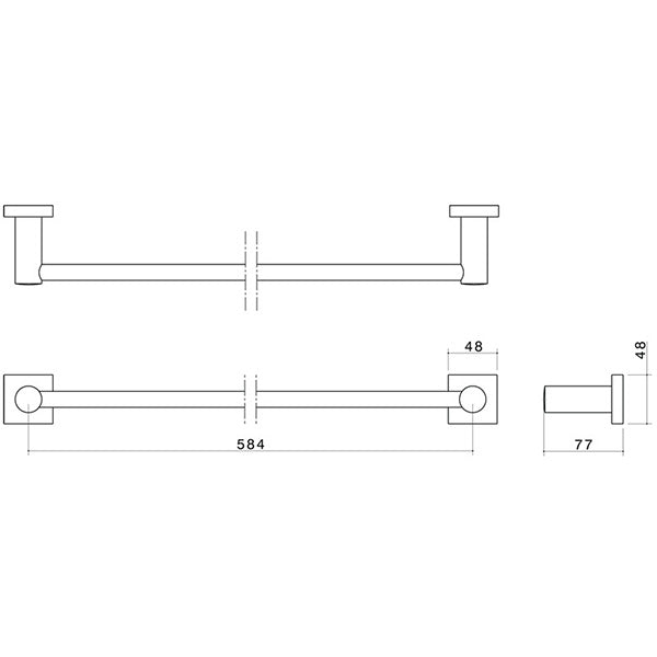 Dorf Enix Single Towel Rail Chrome 600mm Technical Drawing - The Blue Space
