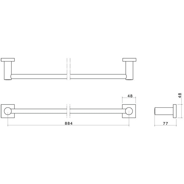 Dorf Enix Single Towel Rail Chrome 900mm Technical Drawing - The Blue Space