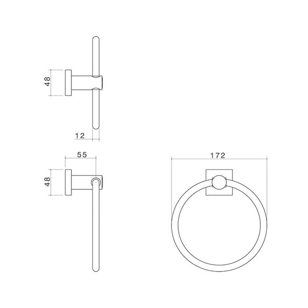Dorf Enix Towel Ring Technical Drawing - The Blue Space