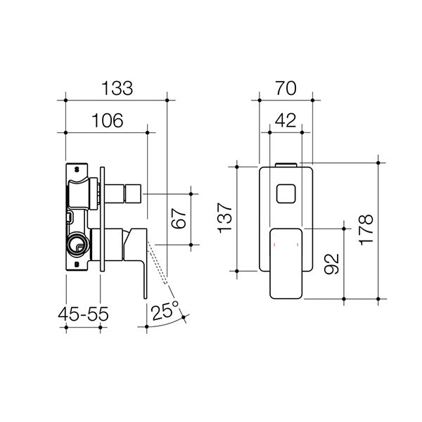 Dorf Epic Bath/Shower Mixer with Diverter - chrome - the blue space specs - line drawing and dimensions