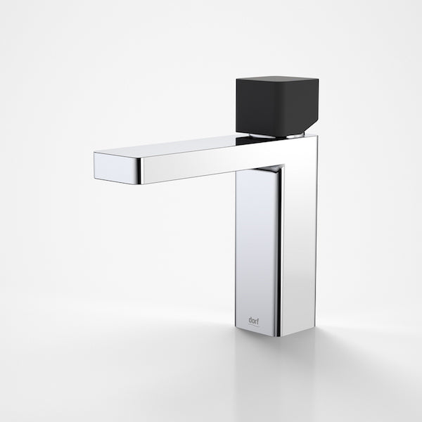 Dorf Epic Bloc Chrome Basin Mixer-Black/Chrome - the blue space