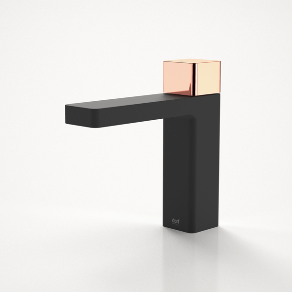 Dorf Epic Bloc Progressive Basin Mixer-Black/Rose Gold - the blue space