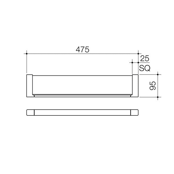 Dorf Epic Glass Shelf specs - line drawing and dimensions