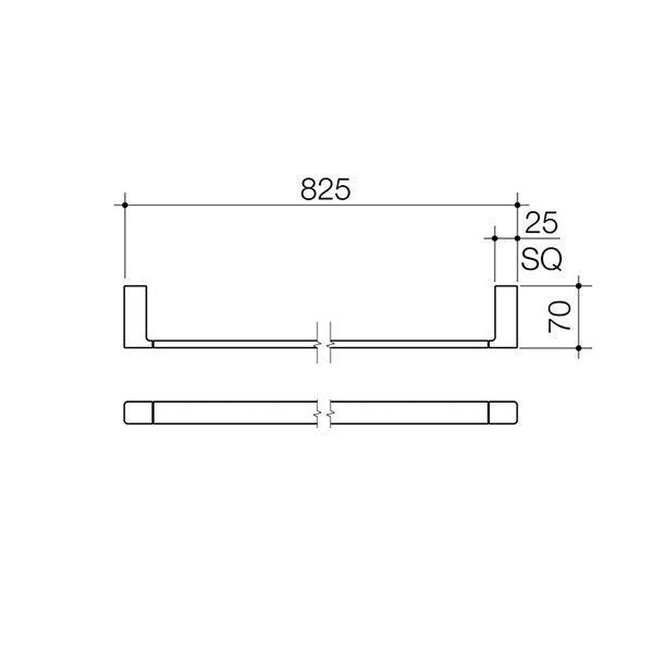 Dorf Epic Single Towel Rail 825mm Technical Drawing - The Blue Space